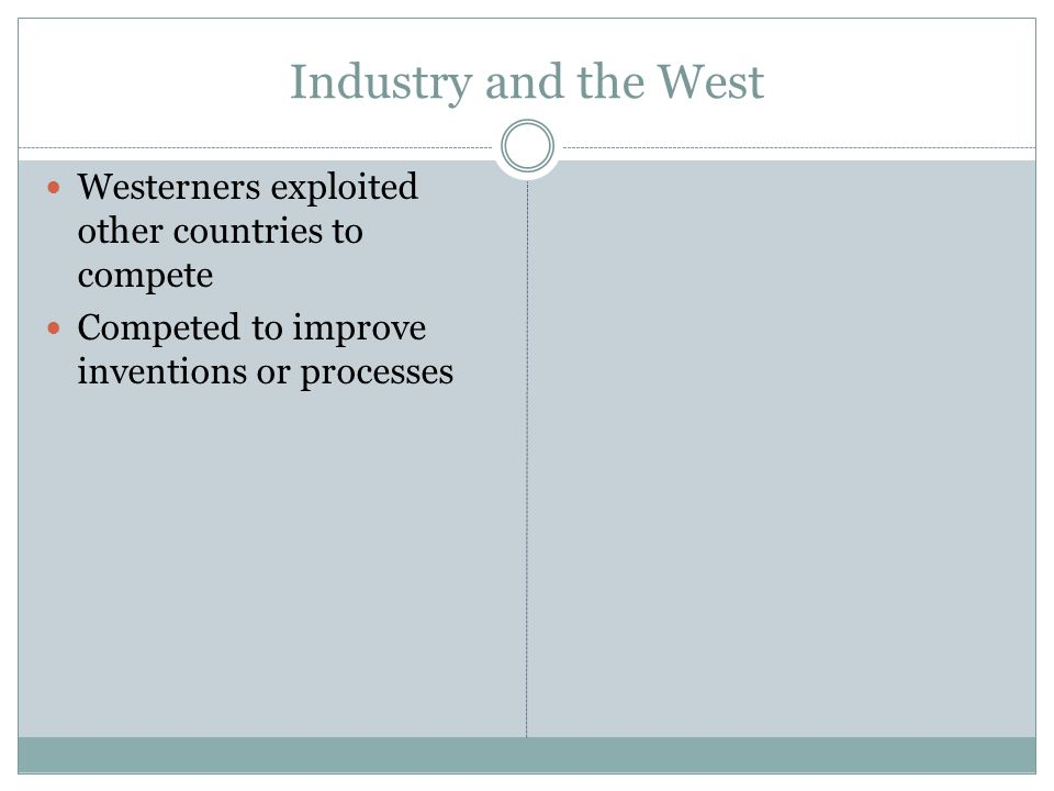 Industry and the West Westerners exploited other countries to compete Competed to improve inventions or processes