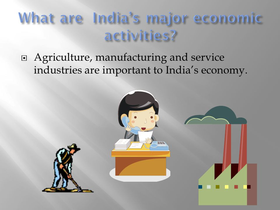  Agriculture, manufacturing and service industries are important to India's economy.