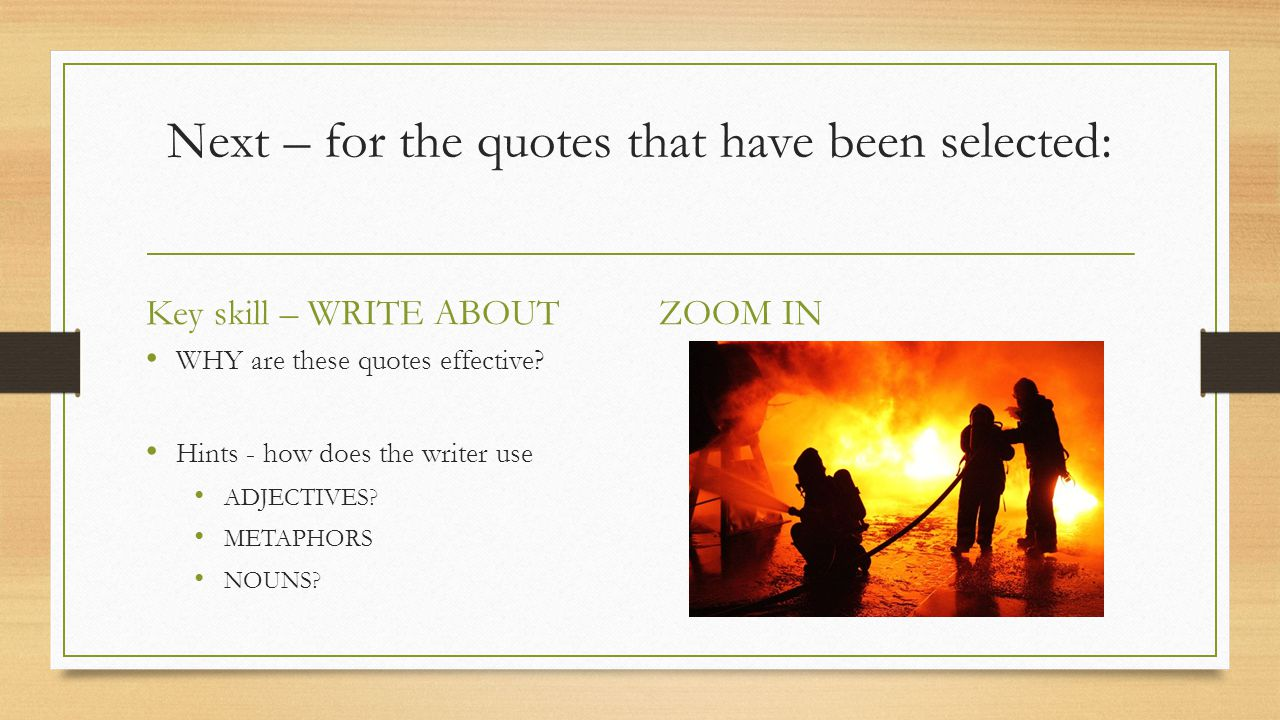WRITER'S EFFECTS Writers create effects by Using powerful language