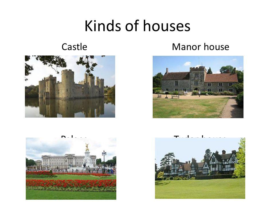 Kinds of houses Castle Palace Manor house Tudor house
