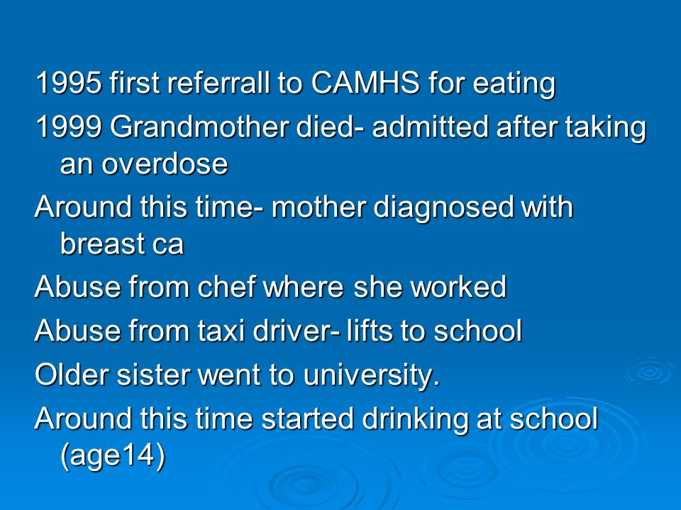 1995 first referrall to CAMHS for eating 1999 Grandmother died- admitted after taking an overdose Around this time- mother diagnosed with breast ca Abuse from chef where she worked Abuse from taxi driver- lifts to school Older sister went to university.