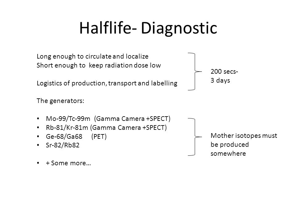 Halflife- Diagnostic Long enough to circulate and localize Short enough to keep radiation dose low Logistics of production, transport and labelling The generators: Mo-99/Tc-99m (Gamma Camera +SPECT) Rb-81/Kr-81m (Gamma Camera +SPECT) Ge-68/Ga68 (PET) Sr-82/Rb82 + Some more… 200 secs- 3 days Mother isotopes must be produced somewhere