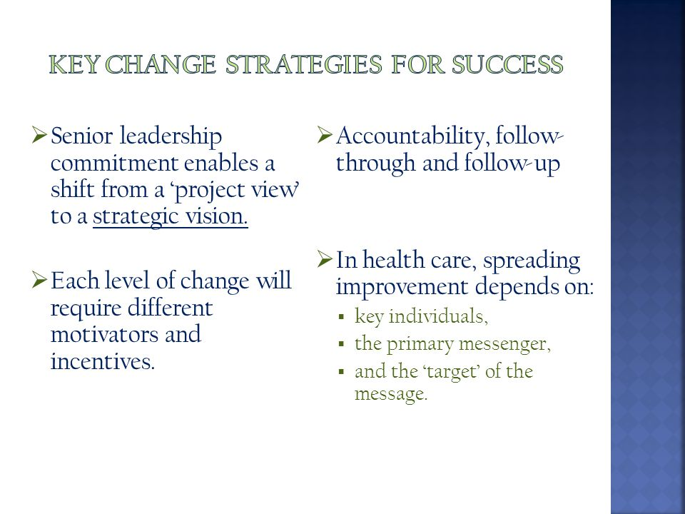  Senior leadership commitment enables a shift from a 'project view' to a strategic vision.