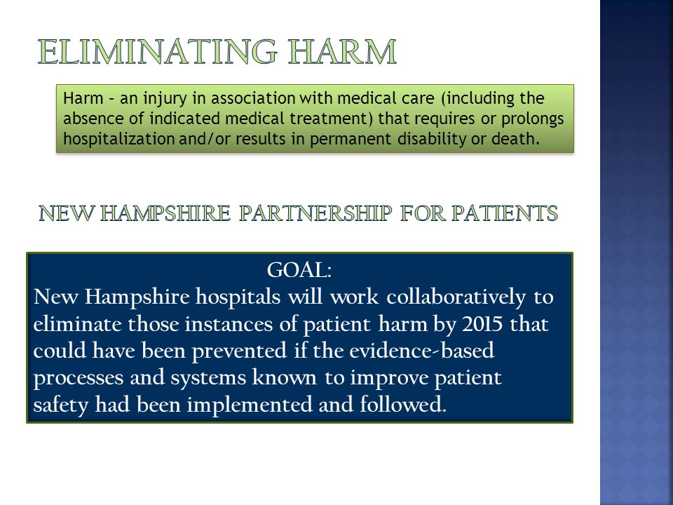 Harm – an injury in association with medical care (including the absence of indicated medical treatment) that requires or prolongs hospitalization and/or results in permanent disability or death.