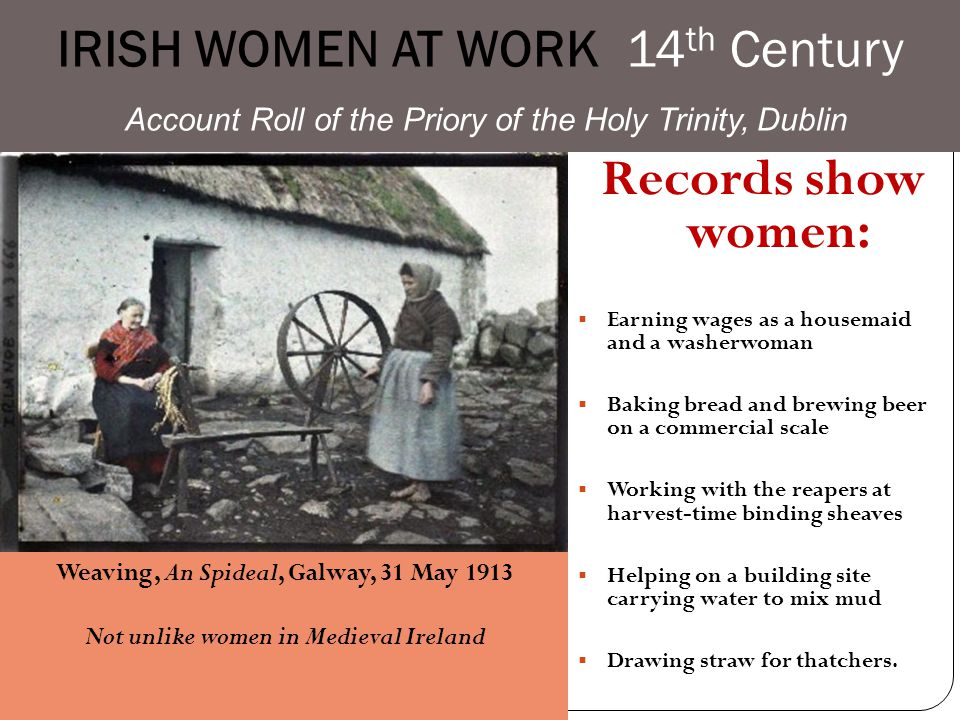 IRISH Women at Work Early Irish Culture Noblewomen, while denied full legal capacity, had limited rights of contract, inheritance, and alienation of l