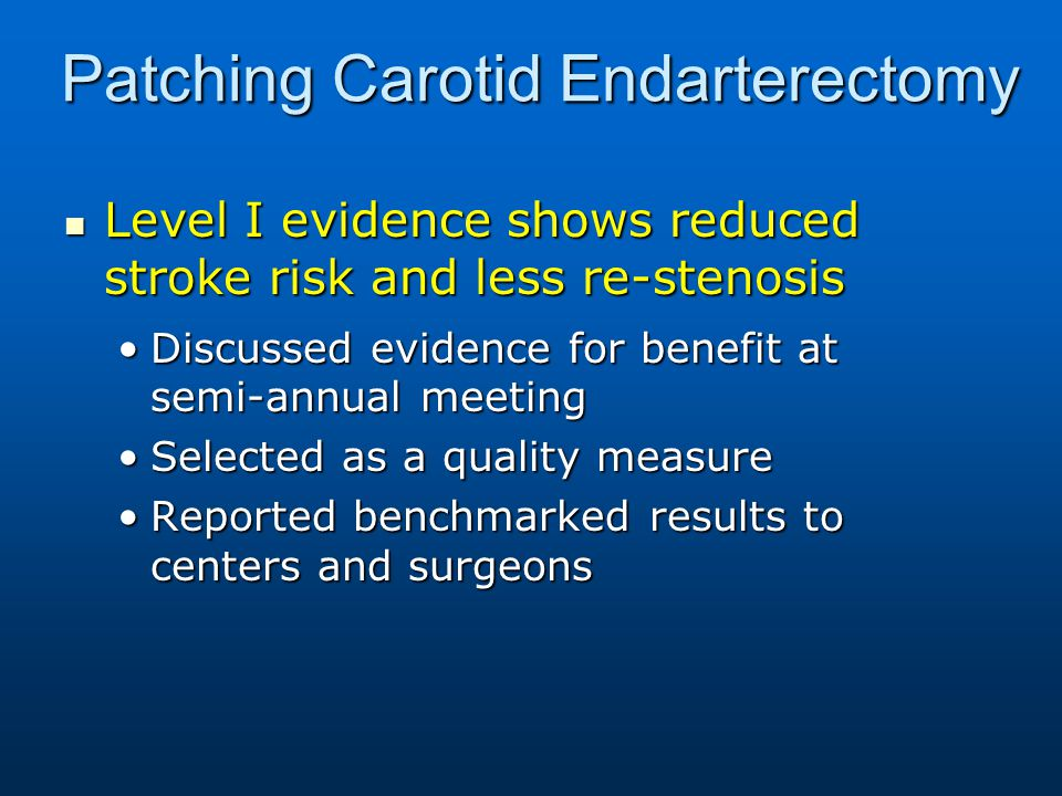 Patching Carotid Endarterectomy Level I evidence shows reduced stroke risk and less re-stenosis Level I evidence shows reduced stroke risk and less re-stenosis Discussed evidence for benefit at semi-annual meetingDiscussed evidence for benefit at semi-annual meeting Selected as a quality measureSelected as a quality measure Reported benchmarked results to centers and surgeonsReported benchmarked results to centers and surgeons