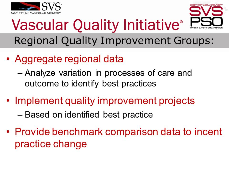 Aggregate regional data –Analyze variation in processes of care and outcome to identify best practices Implement quality improvement projects –Based on identified best practice Provide benchmark comparison data to incent practice change Regional Quality Improvement Groups: