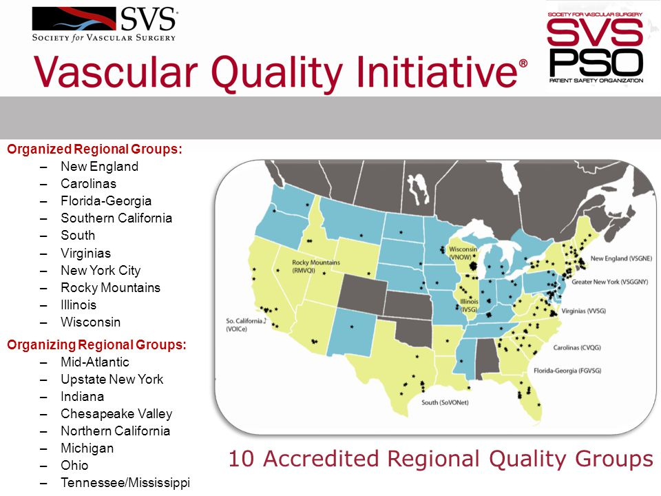10 Accredited Regional Quality Groups Organized Regional Groups: –New England –Carolinas –Florida-Georgia –Southern California –South –Virginias –New York City –Rocky Mountains –Illinois –Wisconsin Organizing Regional Groups: –Mid-Atlantic –Upstate New York –Indiana –Chesapeake Valley –Northern California –Michigan –Ohio –Tennessee/Mississippi