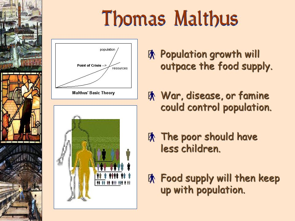 Thomas Malthus × Population growth will outpace the food supply.