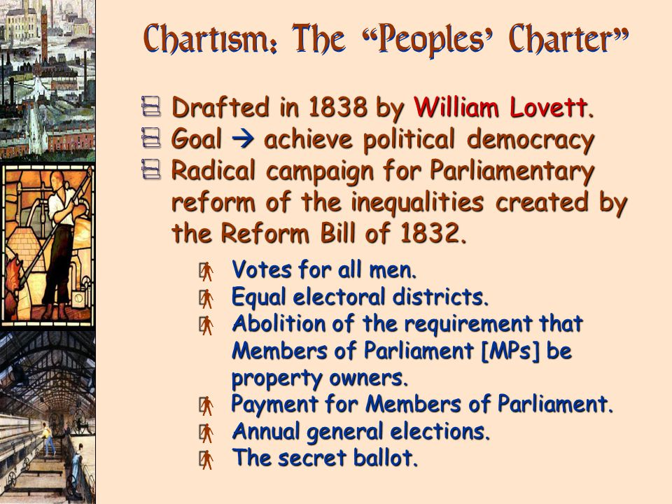 Chartism: The Peoples ' Charter V Drafted in 1838 by William Lovett.