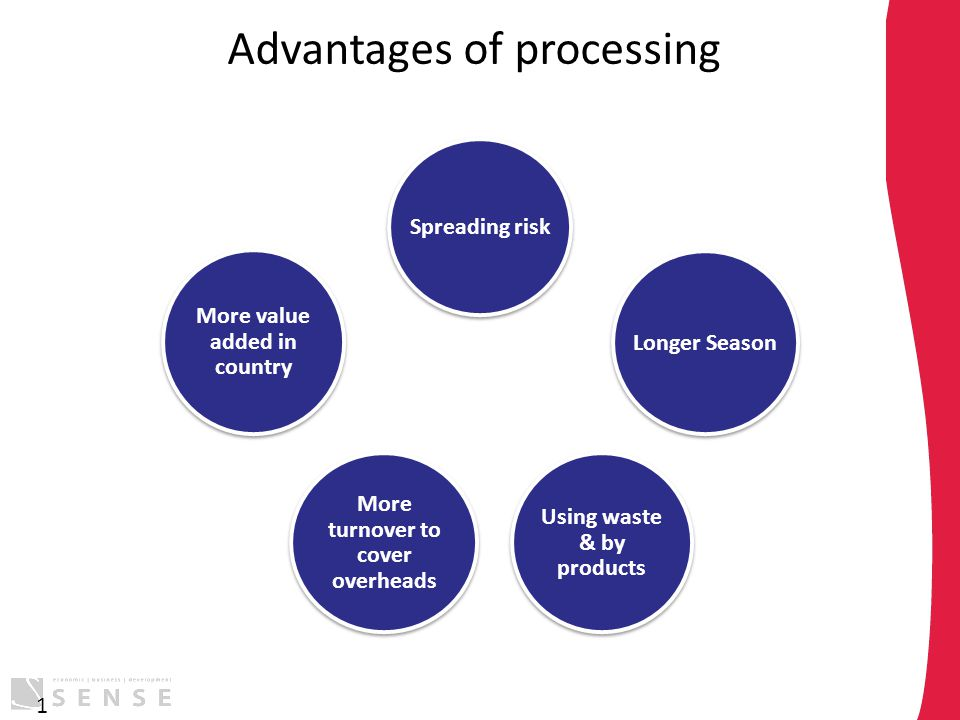 Advantages of processing 1 Spreading risk Longer Season Using waste & by products More turnover to cover overheads More value added in country