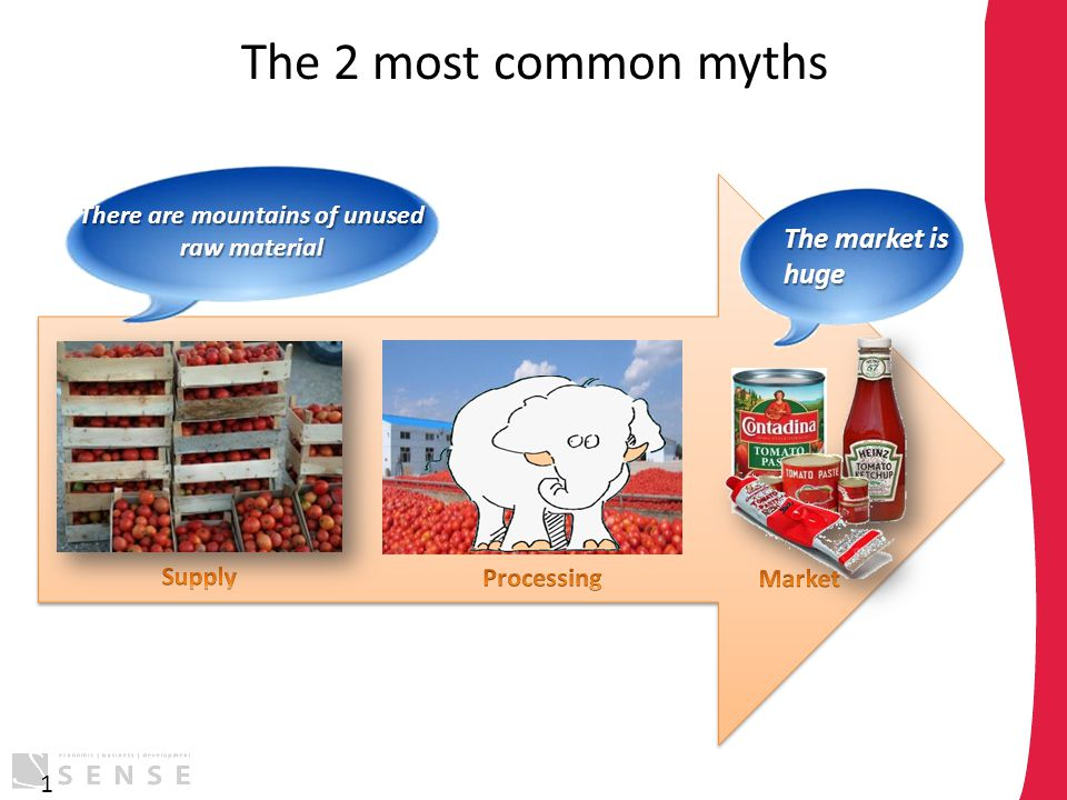The 2 most common myths 1 The market is huge There are mountains of unused raw material