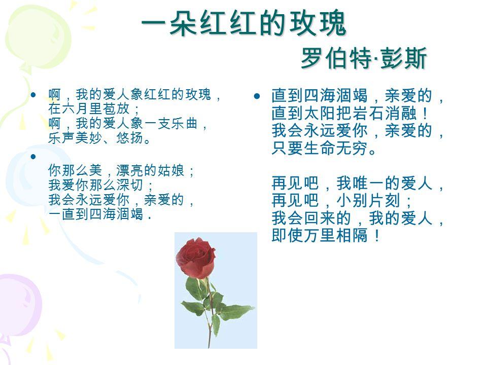 一朵红红的玫瑰 罗伯特 · 彭斯 啊,我的爱人象红红的玫瑰, 在六月里苞放; 啊,我的爱人象一支乐曲, 乐声美妙、悠扬。 你那么美,漂亮的姑娘; 我爱你那么深切; 我会永远爱你,亲爱的, 一直到四海涸竭.