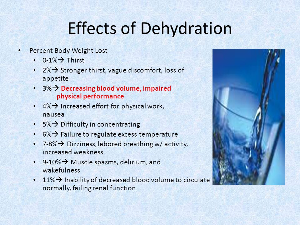 Effects of Dehydration Percent Body Weight Lost 0-1%  Thirst 2%  Stronger thirst, vague discomfort, loss of appetite 3%  Decreasing blood volume, i