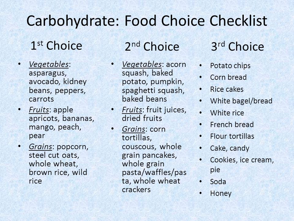 Carbohydrate: Food Choice Checklist 1 st Choice Vegetables: asparagus, avocado, kidney beans, peppers, carrots Fruits: apple apricots, bananas, mango, peach, pear Grains: popcorn, steel cut oats, whole wheat, brown rice, wild rice 2 nd Choice3 rd Choice Vegetables: acorn squash, baked potato, pumpkin, spaghetti squash, baked beans Fruits: fruit juices, dried fruits Grains: corn tortillas, couscous, whole grain pancakes, whole grain pasta/waffles/pas ta, whole wheat crackers Potato chips Corn bread Rice cakes White bagel/bread White rice French bread Flour tortillas Cake, candy Cookies, ice cream, pie Soda Honey
