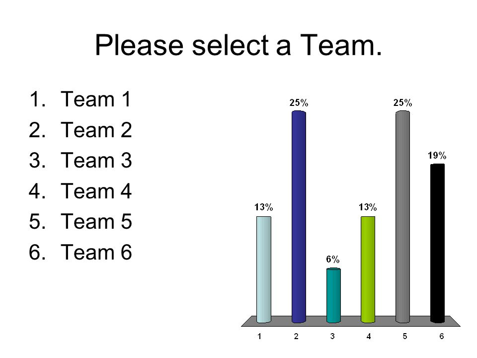 Please select a Team. 1.Team 1 2.Team 2 3.Team 3 4.Team 4 5.Team 5 6.Team 6