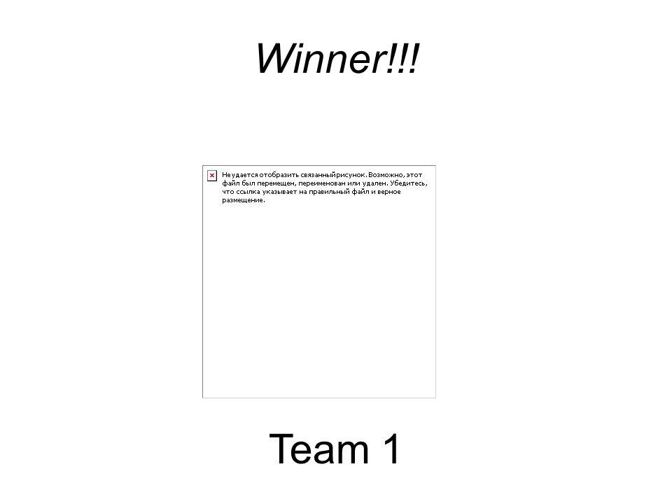 Winner!!! Team 1