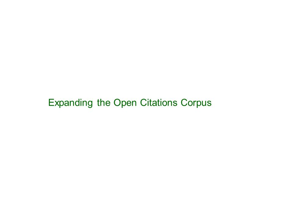 Expanding the Open Citations Corpus