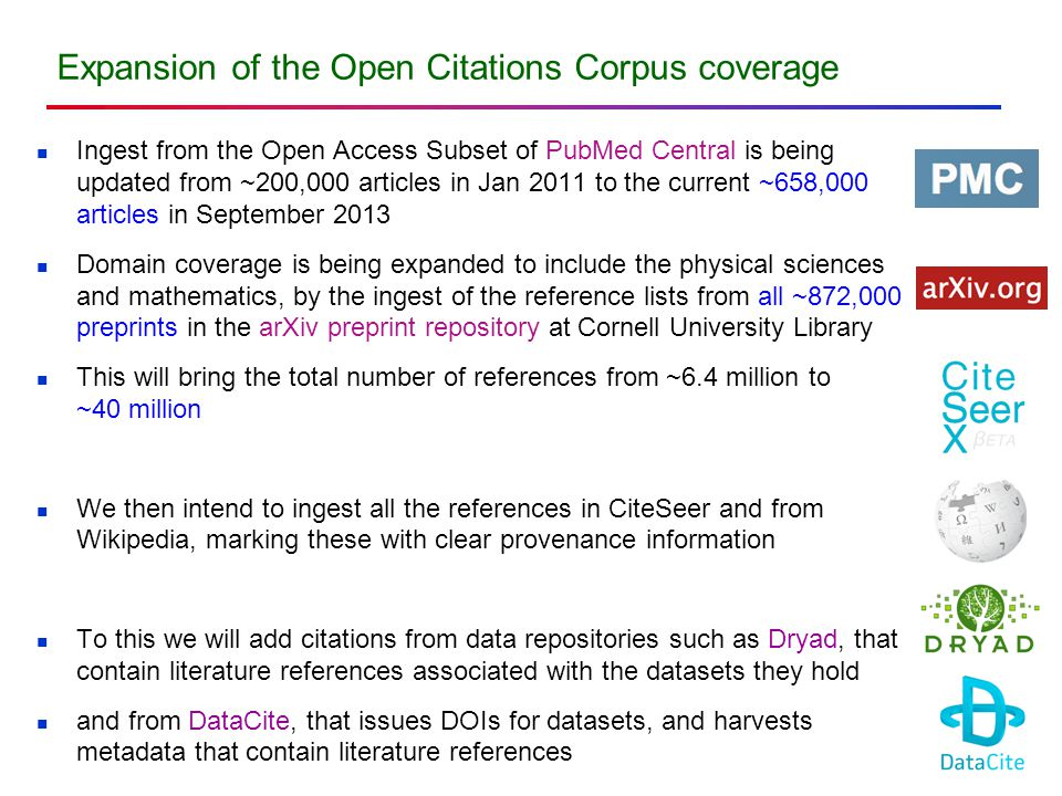 Expansion of the Open Citations Corpus coverage Ingest from the Open Access Subset of PubMed Central is being updated from ~200,000 articles in Jan 2011 to the current ~658,000 articles in September 2013 Domain coverage is being expanded to include the physical sciences and mathematics, by the ingest of the reference lists from all ~872,000 preprints in the arXiv preprint repository at Cornell University Library This will bring the total number of references from ~6.4 million to ~40 million We then intend to ingest all the references in CiteSeer and from Wikipedia, marking these with clear provenance information To this we will add citations from data repositories such as Dryad, that contain literature references associated with the datasets they hold and from DataCite, that issues DOIs for datasets, and harvests metadata that contain literature references