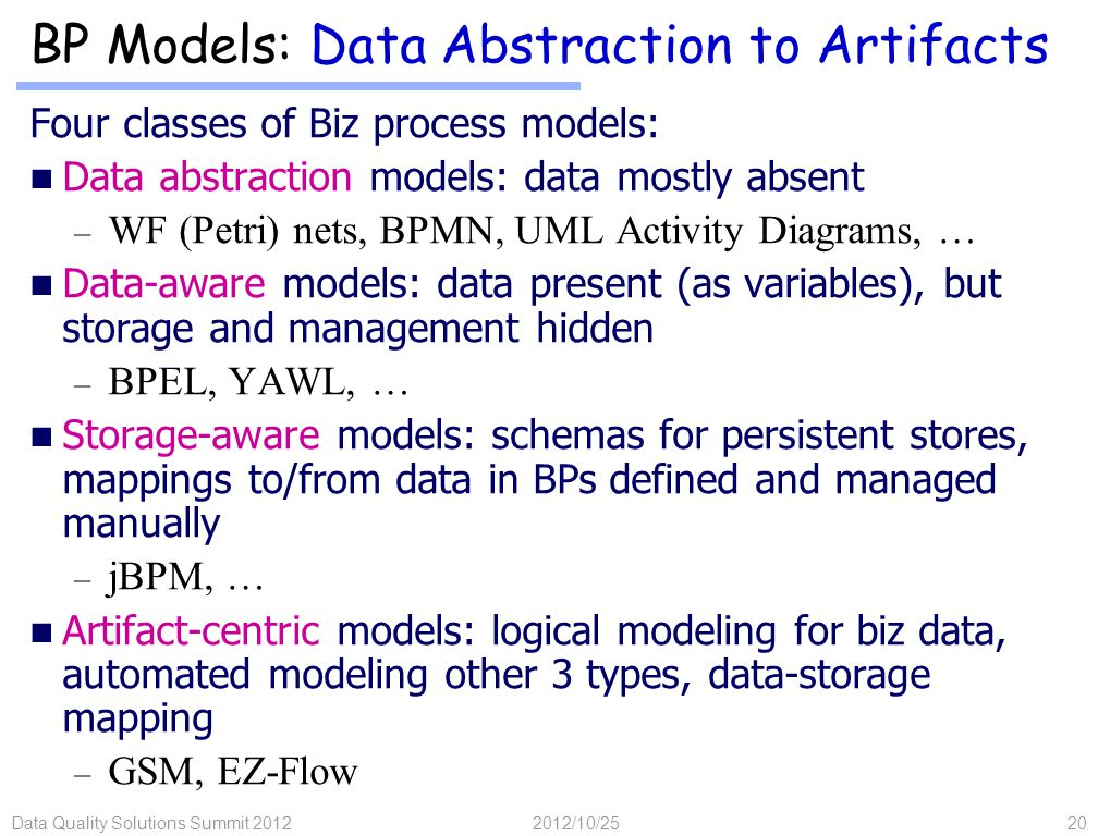 Data Quality Solutions Summit 201220 BP Models: Data Abstraction to Artifacts Four classes of Biz process models: Data abstraction models: data mostly absent – WF (Petri) nets, BPMN, UML Activity Diagrams, … Data-aware models: data present (as variables), but storage and management hidden – BPEL, YAWL, … Storage-aware models: schemas for persistent stores, mappings to/from data in BPs defined and managed manually – jBPM, … Artifact-centric models: logical modeling for biz data, automated modeling other 3 types, data-storage mapping – GSM, EZ-Flow 2012/10/25