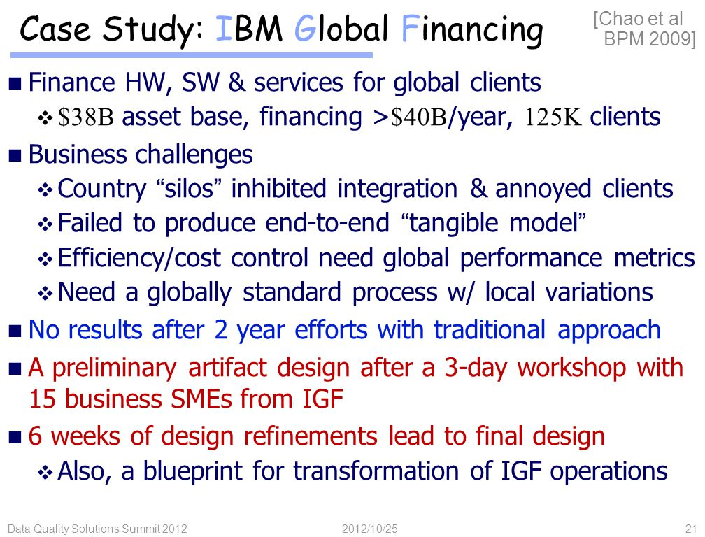 Data Quality Solutions Summit 201221 Case Study: IBM Global Financing Finance HW, SW & services for global clients  $38B asset base, financing > $40B /year, 125K clients Business challenges  Country silos inhibited integration & annoyed clients  Failed to produce end-to-end tangible model  Efficiency/cost control need global performance metrics  Need a globally standard process w/ local variations No results after 2 year efforts with traditional approach A preliminary artifact design after a 3-day workshop with 15 business SMEs from IGF 6 weeks of design refinements lead to final design  Also, a blueprint for transformation of IGF operations [Chao et al BPM 2009] 2012/10/25