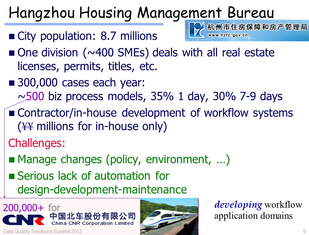 10 Hospitals: RuiJin & SB Cottage Health care delivery: much of the $300 billion could be gained [MGI'11] Treatment workflows can fundamentally improve health care quality Falling far behind: No workflows, conflicting workflows Shaky IT infrastructures RuiJin has the largest IT team (40+ FTEs) among all hospitals in Shanghai wishful workflow application domains new IT divide.