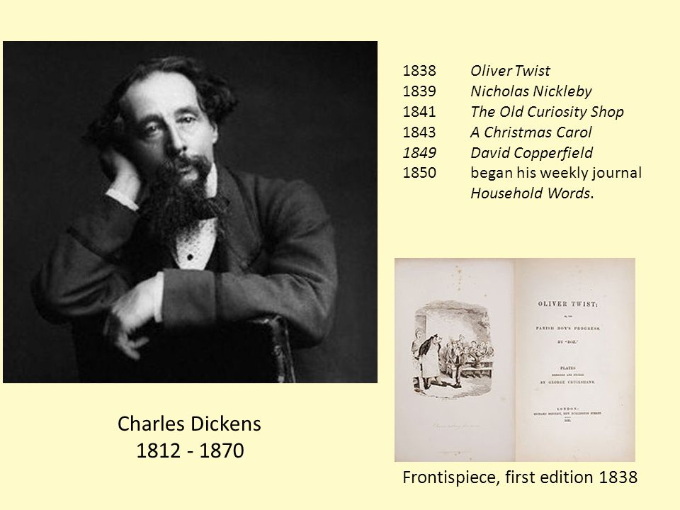 Charles Dickens 1812 - 1870 Frontispiece, first edition 1838 1838 Oliver Twist 1839Nicholas Nickleby 1841 The Old Curiosity Shop 1843 A Christmas Carol 1849 David Copperfield 1850 began his weekly journal Household Words.