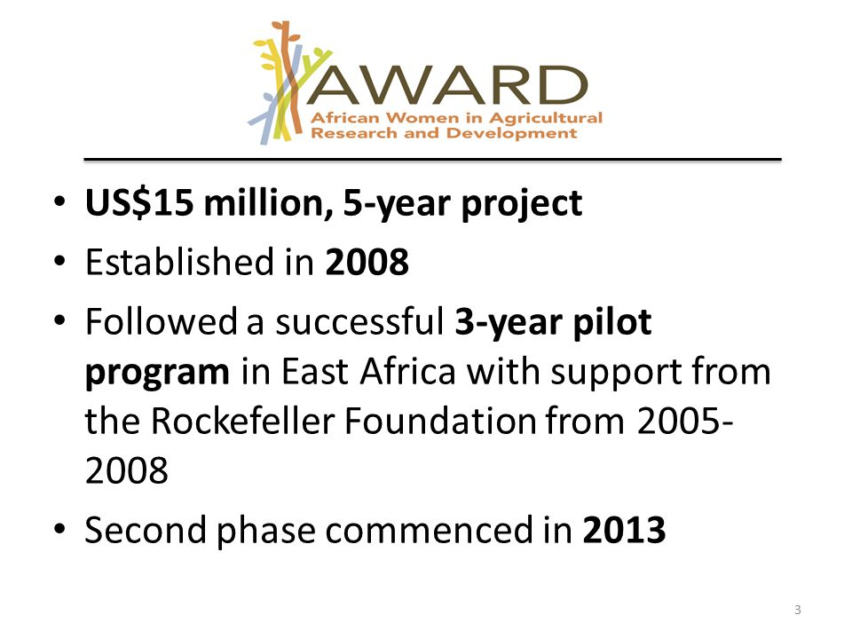 US$15 million, 5-year project Established in 2008 Followed a successful 3-year pilot program in East Africa with support from the Rockefeller Foundation from 2005- 2008 Second phase commenced in 2013 3