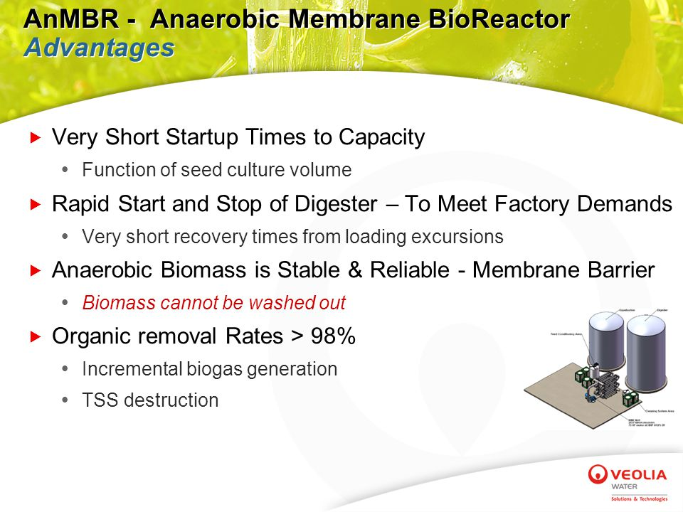 AnMBR - Anaerobic Membrane BioReactor Advantages  Mechanically Simple and Exceptionally Efficient  Simple layout with quick and easy access to membranes  All streams fully contained to eliminate odor  Layout fully flexible to adapt to individual site conditions  No submerged membranes - membranes fully accessible  Sustainable flux rate performance with proactive control of crossflow filtration  No inorganic fouling or precipitation on membrane vessels  Reliable and Robust