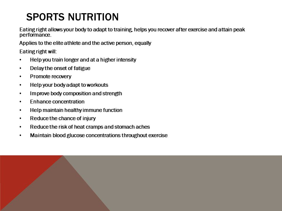 BEFORE EXERCISE-PRE COMPETITION MEAL Your pre-training meal is as important as pre-competition meal Eat well the night before your competition.