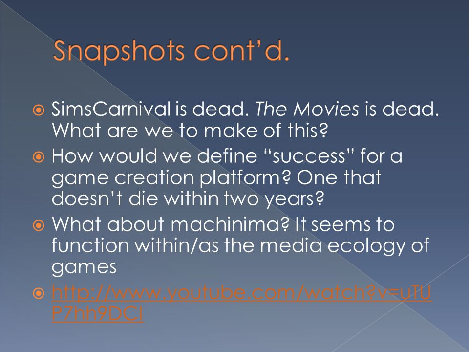 """ SimsCarnival is dead. The Movies is dead. What are we to make of this?  How would we define """"success"""" for a game creation platform? One that doesn'"""