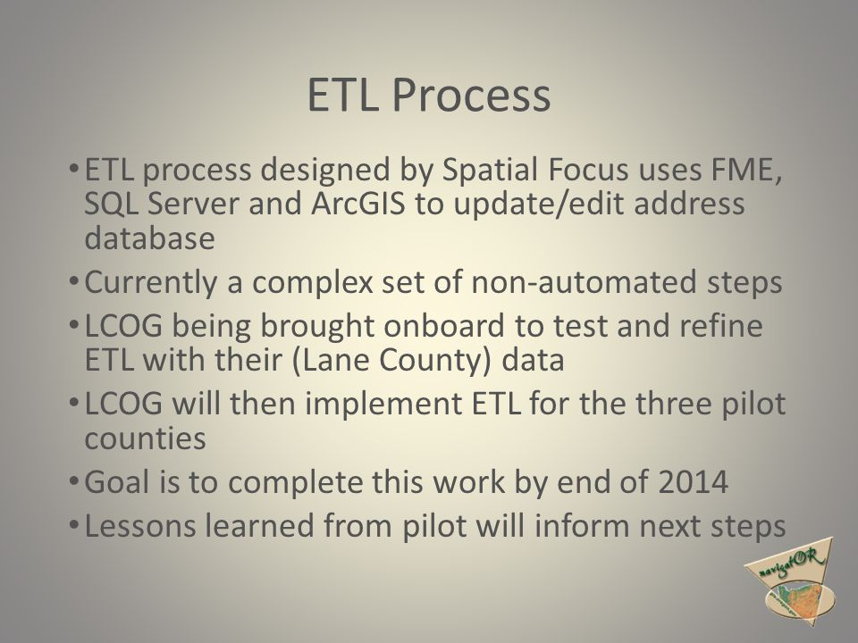 ETL Process ETL process designed by Spatial Focus uses FME, SQL Server and ArcGIS to update/edit address database Currently a complex set of non-autom