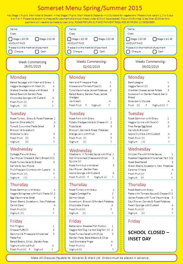Somerset Menu Spring/Summer 2015 Key Stage 1 Pupils: Main Meal & Dessert - Key Stage 2 Pupils: Main Meals & Desserts - (v) Suitable for vegetarians.