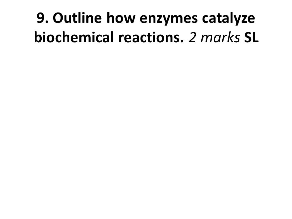 9. Outline how enzymes catalyze biochemical reactions. 2 marks SL