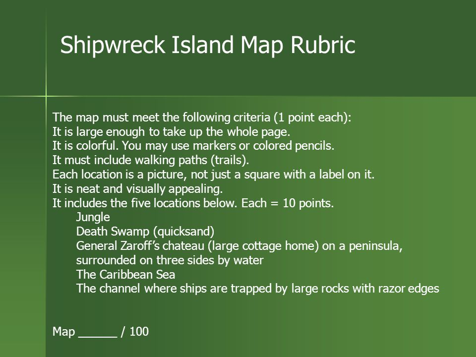 Activity Choice: Using what you know about plot and setting, create a map for Ship-Trap Island. You must label your map. You will be given a rubric. Y