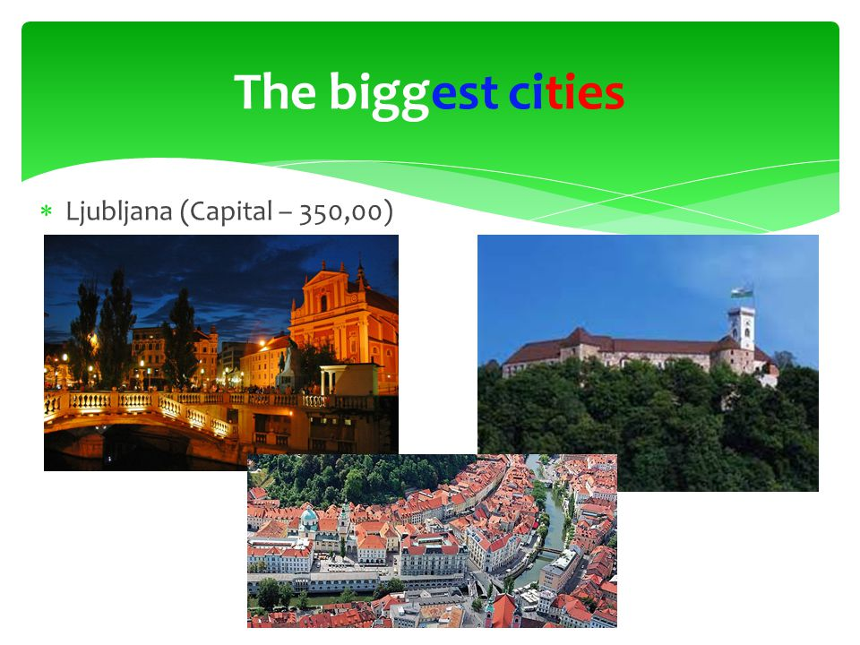 Ljubljana (Capital – 350,00) The biggest cities