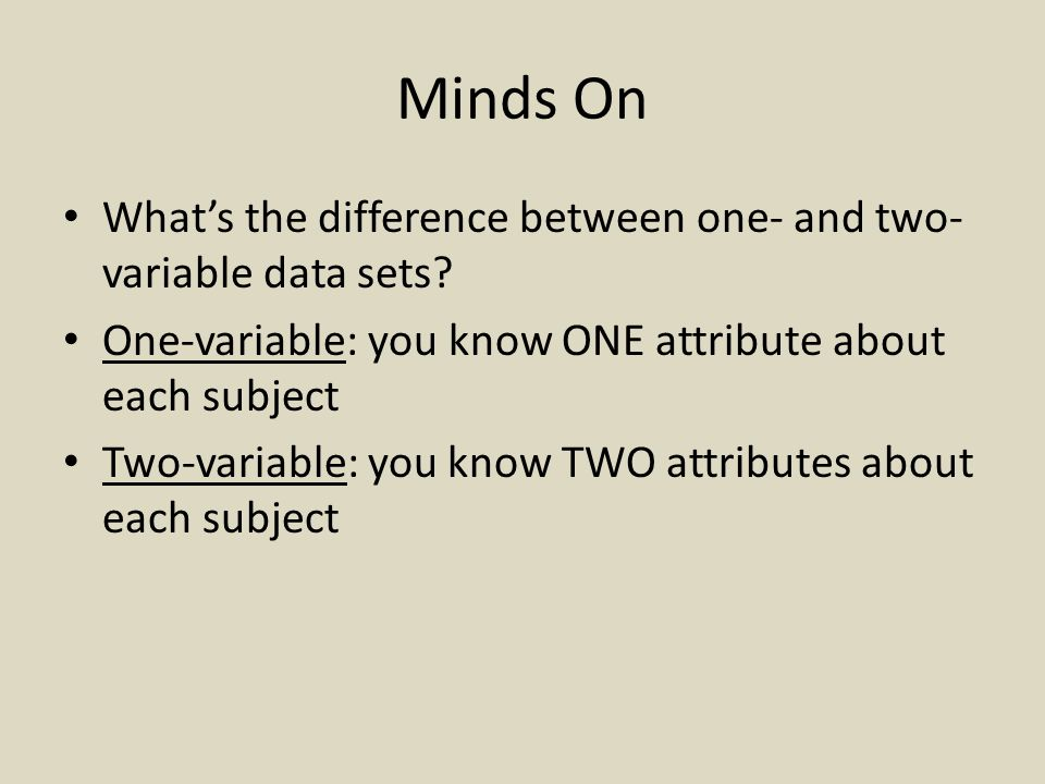 Minds On What's the difference between one- and two- variable data sets.