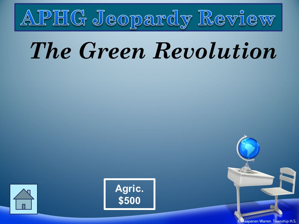 The Green Revolution Agric. $500 R. Haapanen Warren Township H.S.