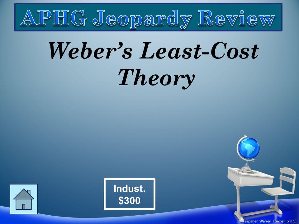 Weber's Least-Cost Theory Indust. $300 R. Haapanen Warren Township H.S.