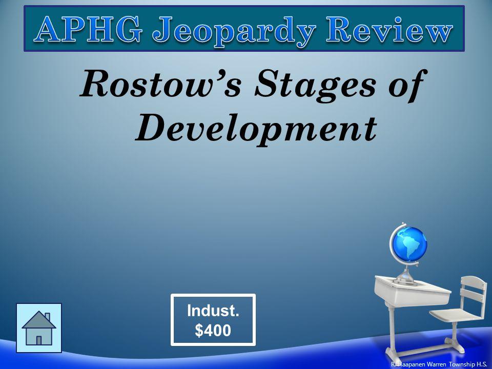 Rostow's Stages of Development Indust. $400 R. Haapanen Warren Township H.S.