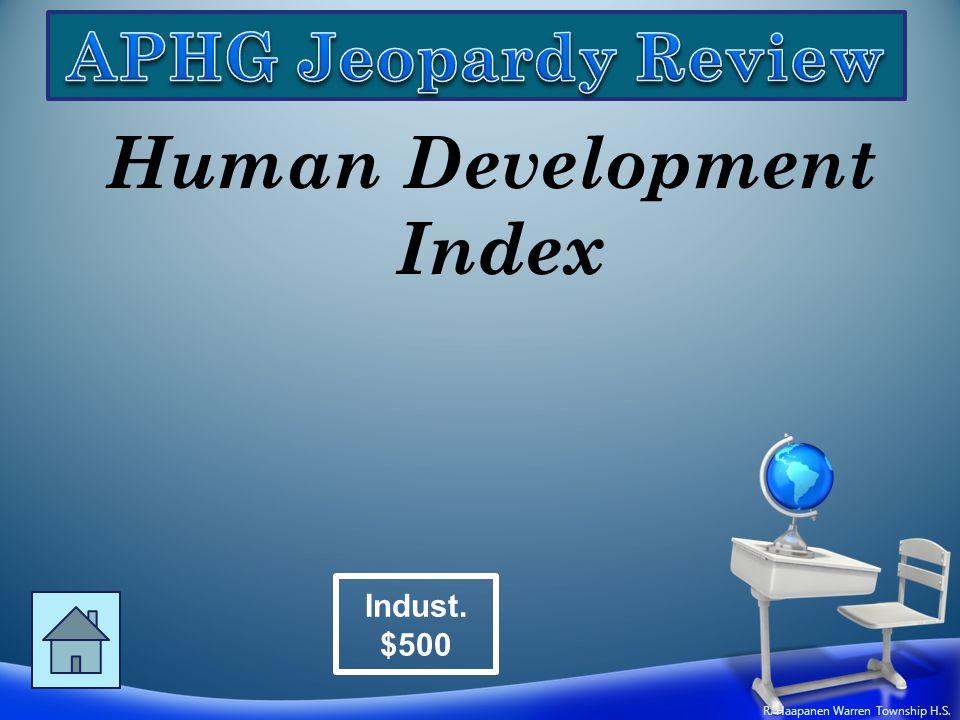 Human Development Index Indust. $500 R. Haapanen Warren Township H.S.