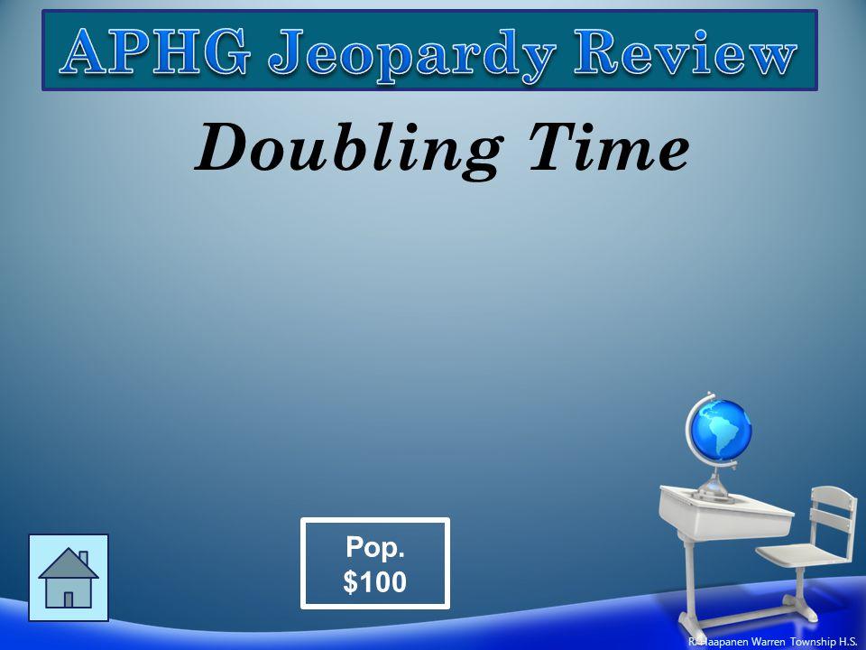 Doubling Time Pop. $100 R. Haapanen Warren Township H.S.