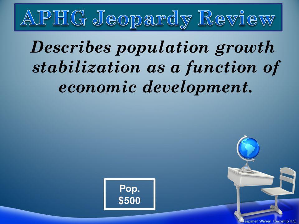 Describes population growth stabilization as a function of economic development. Pop. $500 R. Haapanen Warren Township H.S.