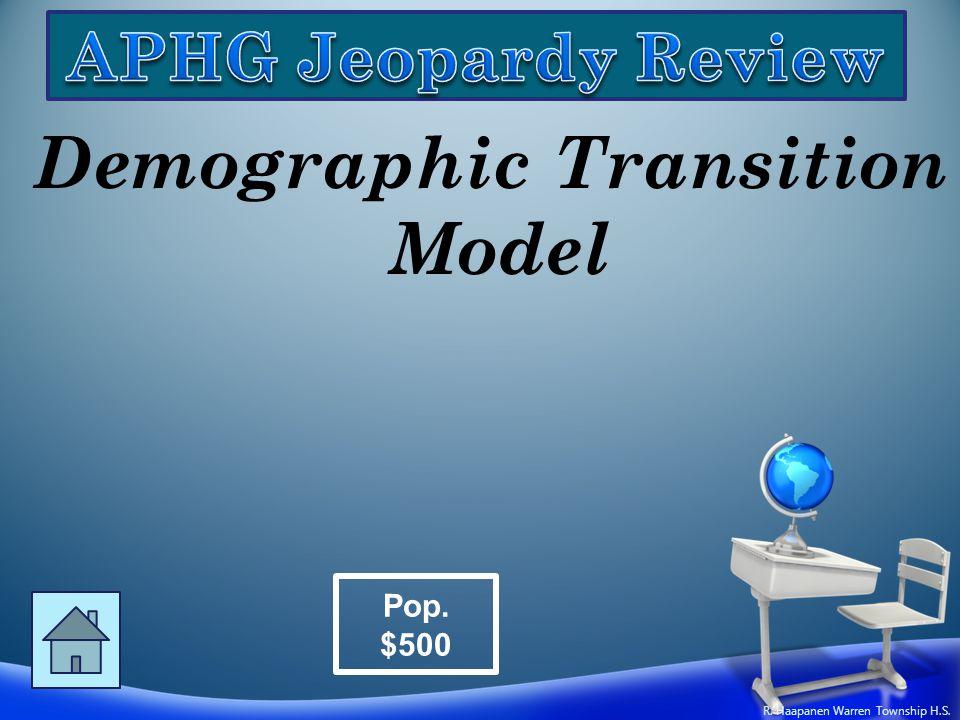 Demographic Transition Model Pop. $500 R. Haapanen Warren Township H.S.