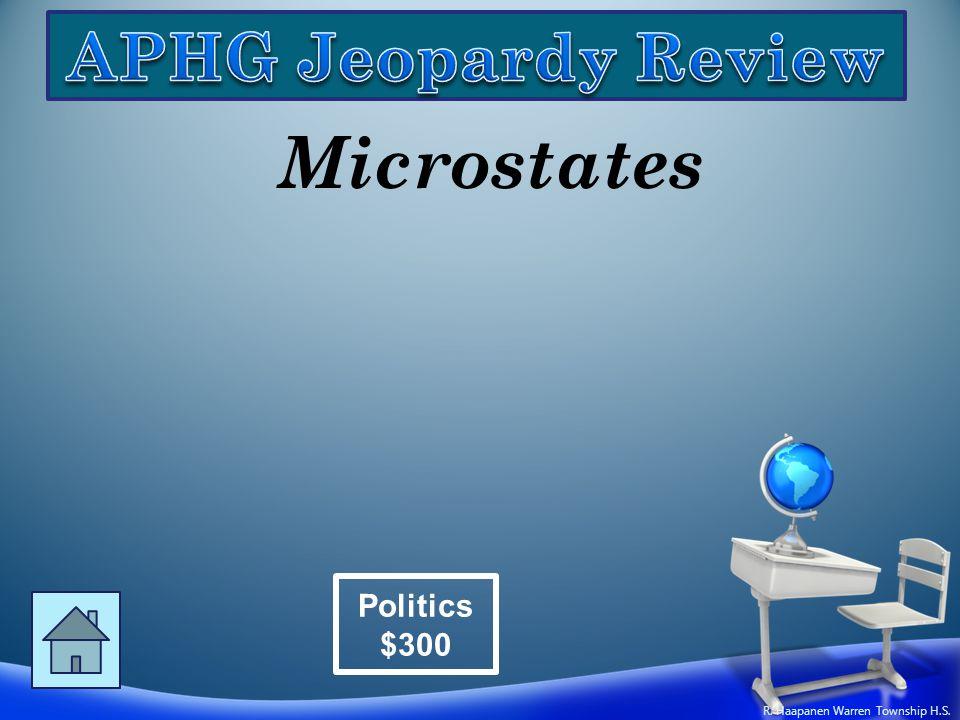 Microstates Politics $300 R. Haapanen Warren Township H.S.