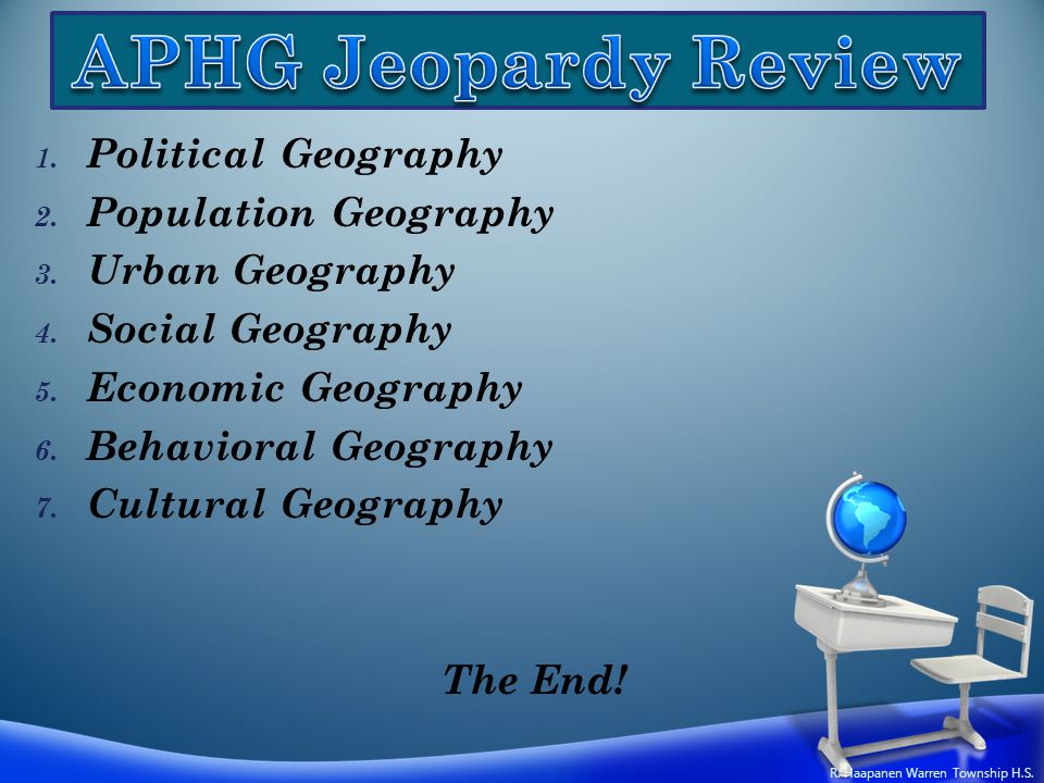1. Political Geography 2. Population Geography 3. Urban Geography 4. Social Geography 5. Economic Geography 6. Behavioral Geography 7. Cultural Geogra
