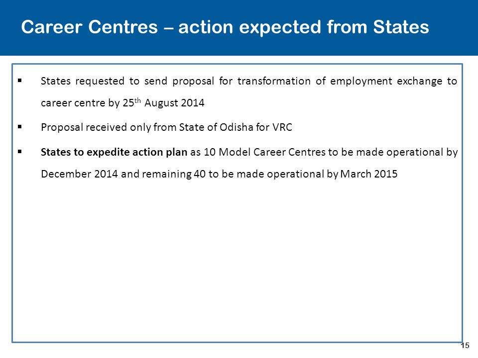15 Career Centres – action expected from States  States requested to send proposal for transformation of employment exchange to career centre by 25 t