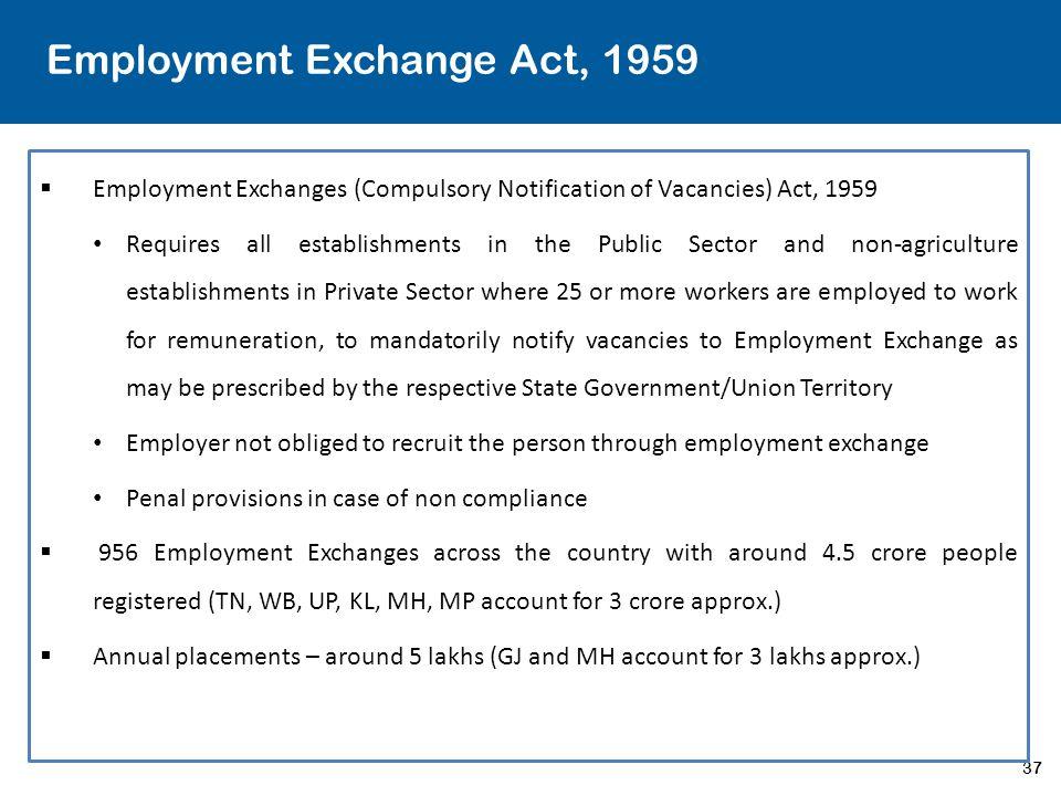 37 Employment Exchange Act, 1959  Employment Exchanges (Compulsory Notification of Vacancies) Act, 1959 Requires all establishments in the Public Sec