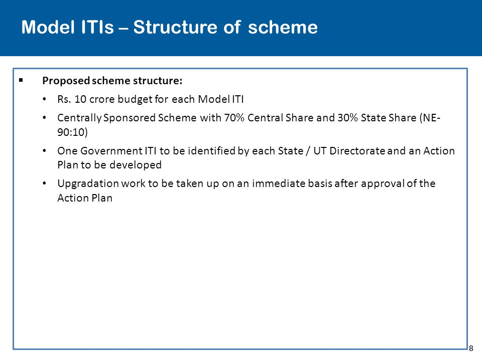 8 Model ITIs – Structure of scheme  Proposed scheme structure: Rs. 10 crore budget for each Model ITI Centrally Sponsored Scheme with 70% Central Sha