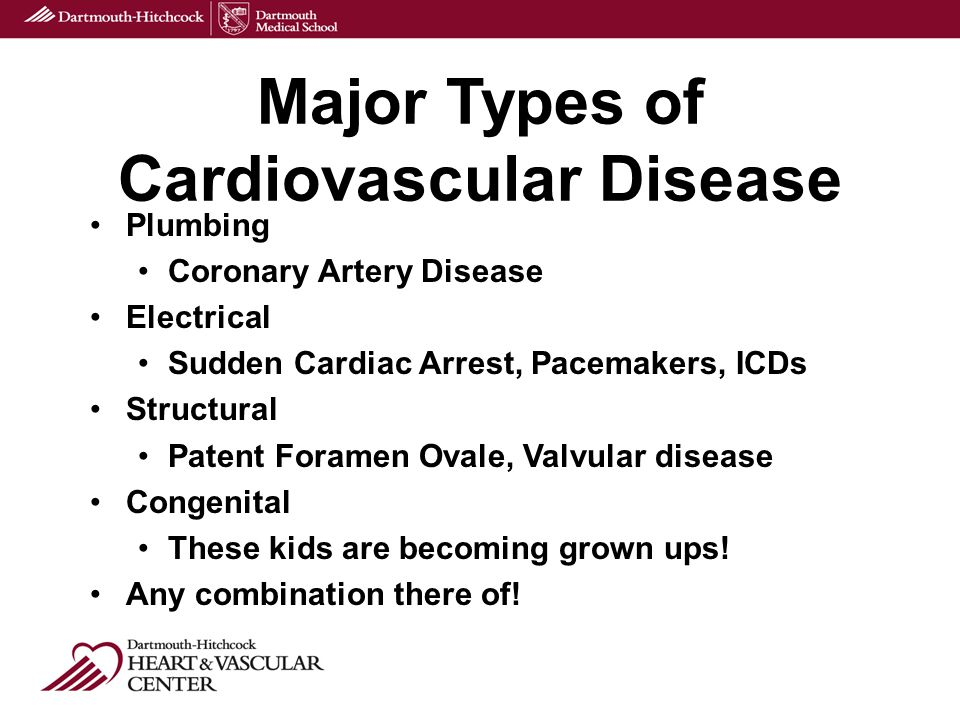 Plumbing Coronary Artery Disease Electrical Sudden Cardiac Arrest, Pacemakers, ICDs Structural Patent Foramen Ovale, Valvular disease Congenital These kids are becoming grown ups.